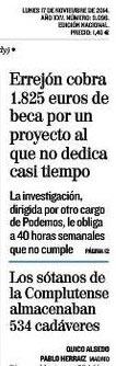 Errejón 1.825 € mes sin dar ni palo